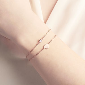 Personalised Rose Gold Heart Bracelet Set - valentine's gifts for her