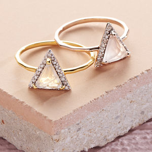 Triangle Semi Precious 14 K Gold Vermeil Diamond Ring - best valentine's gifts