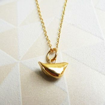 Solid Gold Baby Bird Charm Necklace