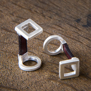 Square Silver And Leather Personalised Cufflinks - cufflinks