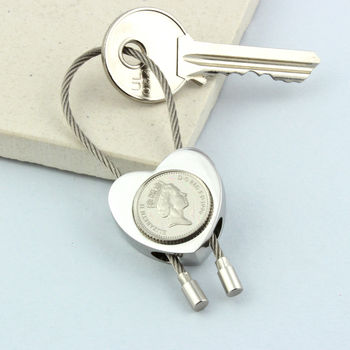 Personalised 18th Or 21st Birthday Five Pence Keyring