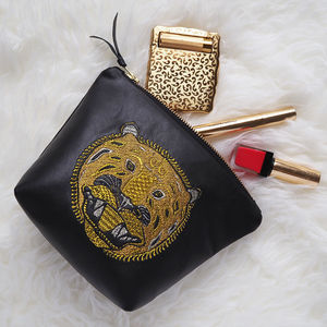 Embroidered Metallic Leather Tiger Make Up Bag