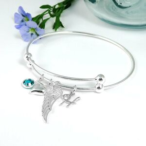 Wing And Heart Personalised Silver Bangle