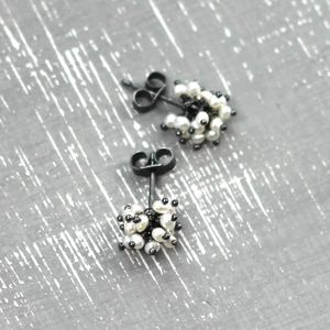 Pearl Pompom Stud Earrings - earrings