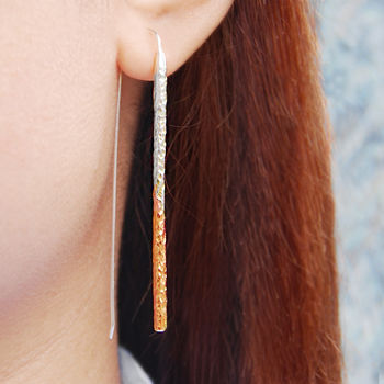 Textured Bar Rose Gold Silver Drop Earrings