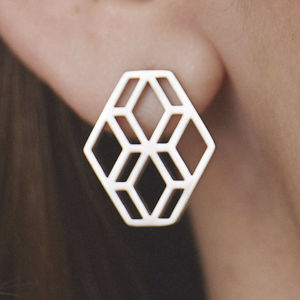 Diamond Hex Stud Earrings