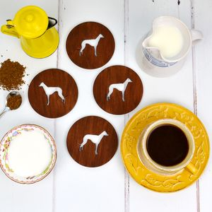 Wooden Greyhound Dog Coasters