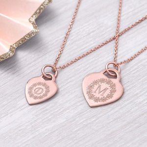Personalised Rose Gold Flower Circle Necklace