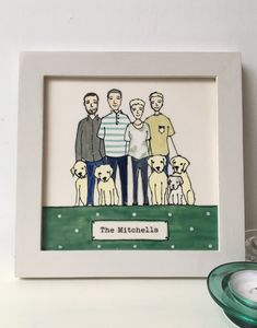 Personalised Family Portrait Framed Tile Picture