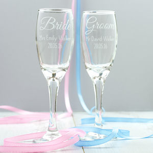 Personalised Bride Or Groom Champagne Flute - personalised wedding gifts