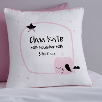 New Baby Personalised Whale Cushion