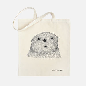 Curious Otter Cotton Tote Bag - bags & purses