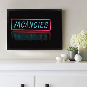 'Vacancies' Neon Sign New Home Decor Print