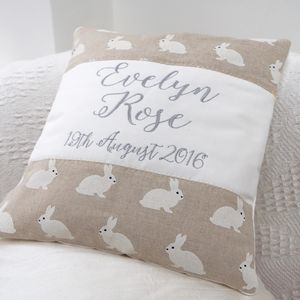 Personalised White Rabbits Name Cushion - embroidered & beaded cushions
