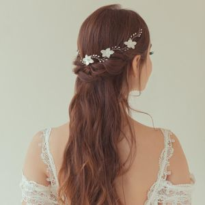'Orchid' Mother Of Pearl Flower Wedding Hair Vine