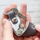 Personalised Leather Photo Keyring For Dad