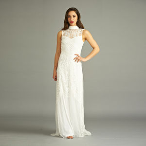 Bibi Sequin White Maxi Dress - wedding dresses