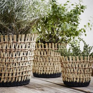 Woven Black And Seagrass Basket Planters - pots & planters