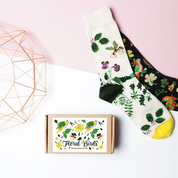 Set Of Two Floral Birds Socks