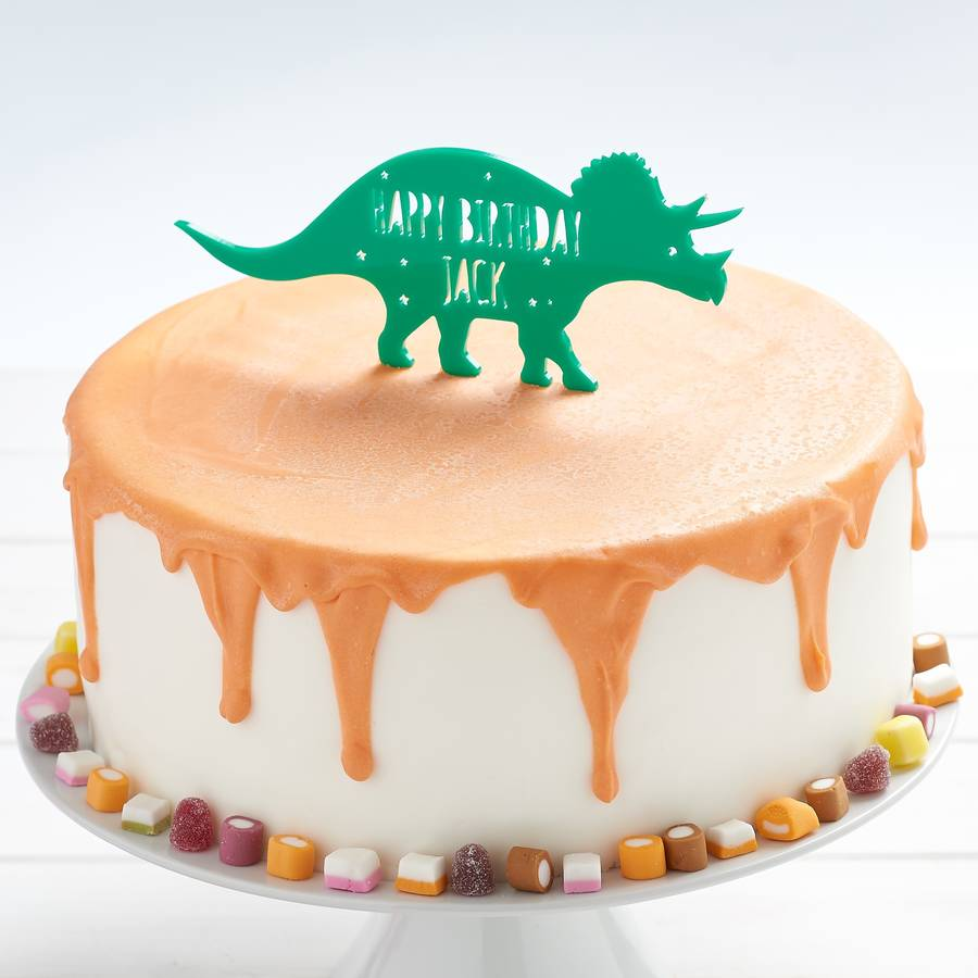 Incredible Personalised Triceratops Dinosaur Birthday Cake Topper By Owl Funny Birthday Cards Online Fluifree Goldxyz