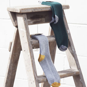 Cashmere Blend Socks With Contrasting Heel