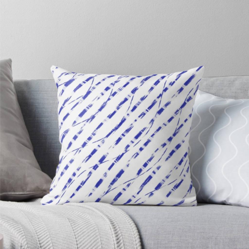 Modern Blue Stripe Batik Cushion