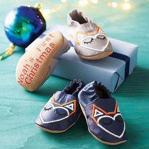 Personalised Unisex Geometric Fox Baby Shoes - christmas catalogue