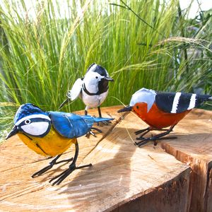 Three Handpainted Bird Sculptures - new in garden