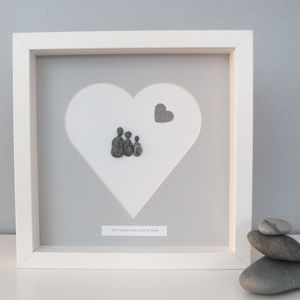 Personalised Heart Family Pebble People Picture Artwork