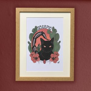 Scorpio Cat Star Sign Zodiac Print - posters & prints