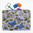 Butterflies Printed Silk Zipped Bag