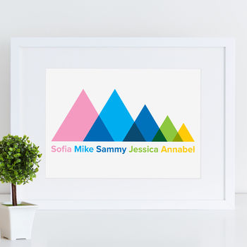 Scandi Mountain Peak Personalised Family Print