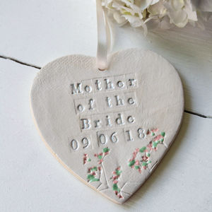 Mother Of The Bride Ceramic Hanging Heart - message token favours
