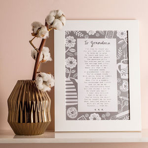 'A Letter To Grandmother' Poem Print - gifts for grandparents