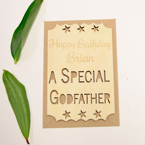 Personalised Special Godfather Birthday Ticket Keepsake - birthday cards