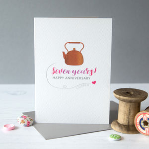 Seventh Wedding Anniversary Card Copper - anniversary cards