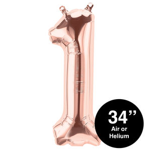 Inflated Rose Gold 34 Inch Balloon Numbers