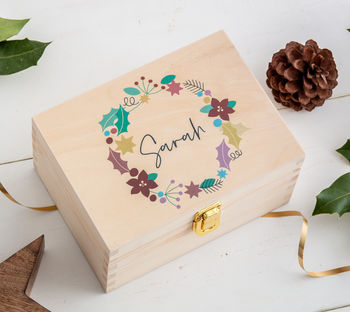festive wooden gift box with name