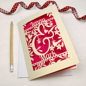 Personalised Papercut Ampersand Valentines Card - cards & wrap