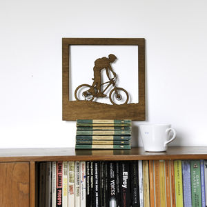 Mountain Bike Cyclist Silhouette Woodcut Wall Art