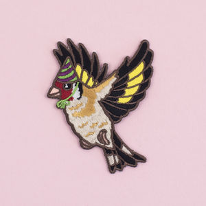 Goldfinch In A Party Hat Iron On Embroidered Patch