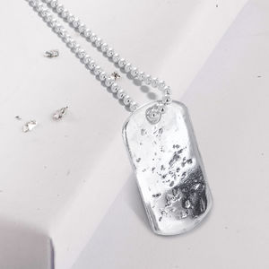 Sterling Silver Single Dog Tag Necklace And Chain - necklaces