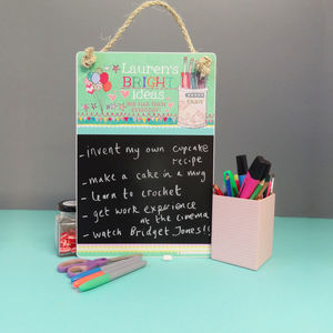 Personalised 'Bright Ideas' Chalkboard - storage & organisers