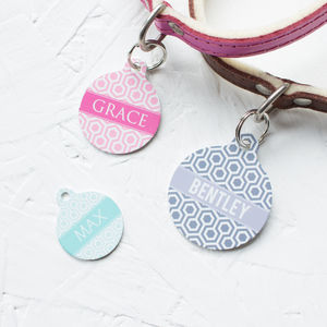 Personalised Geometric Pet Tag Bauble Shaped