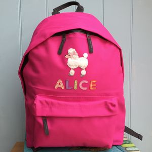 Poodle Personalised Girls Backpack