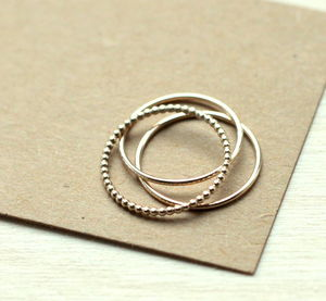 Dot And Smooth Stacking Ring Set Gold Fill - rings