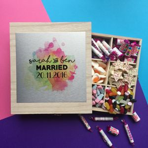 Personalised Wedding Sweet Filled Wooden Box - sweets