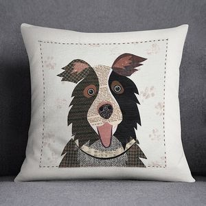 Border Collie Personalised Dog Cushion Cover - living room