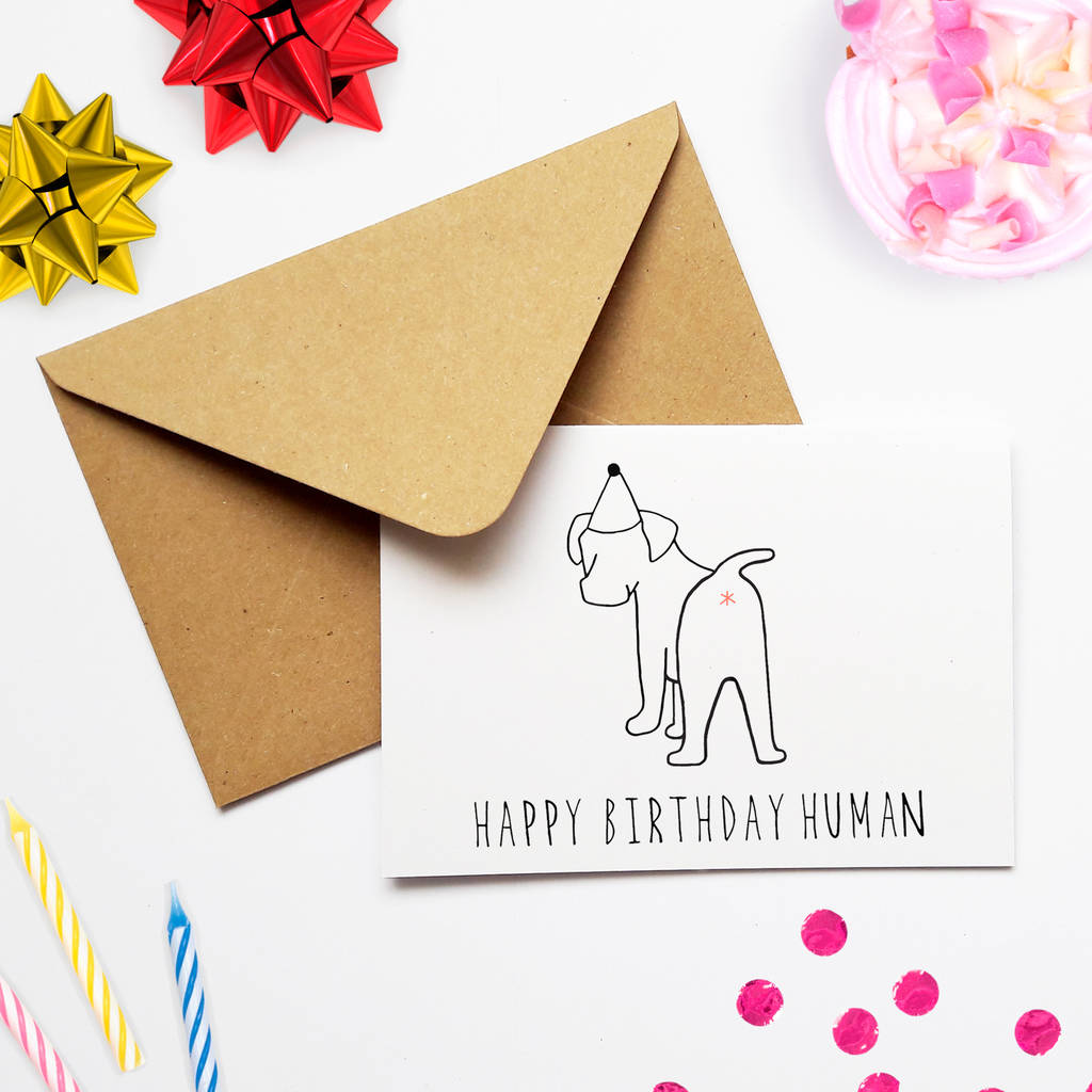 Funny Dog Lover Birthday Card Happy Human