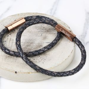 Engraved Men's Leather Bracelet With Hexagonal Clasp